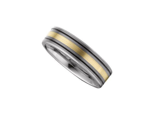 7.3MM Dura Tungsten Flat Black Antiqued Band With 14Kt Yellow Gold Inlay Size 11