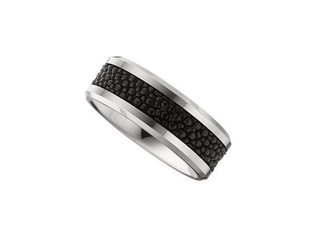 8.3MM Dura Tungsten Beveled Band With Black Stingray Inlay Size 9.5