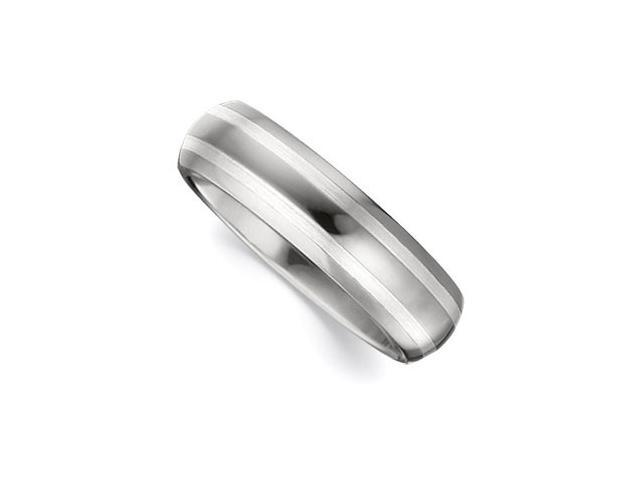 6.3MM Dura Tungsten Domed Satin Band With Sterling Silver Inlays Size 9.5