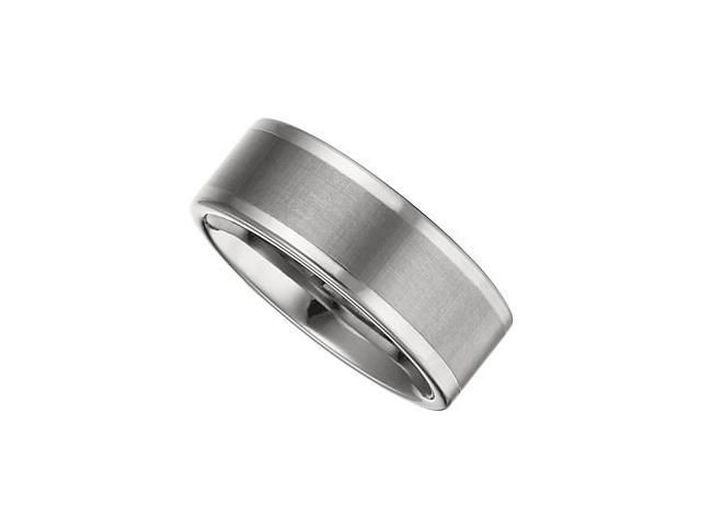 8.3MM Dura Tungsten Flat Band With Satin Finish Center Size 7