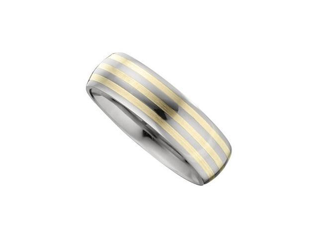 7.3MM Dura Tungsten Slight Domed Band With 14Kt Yellow Inlays Size 9
