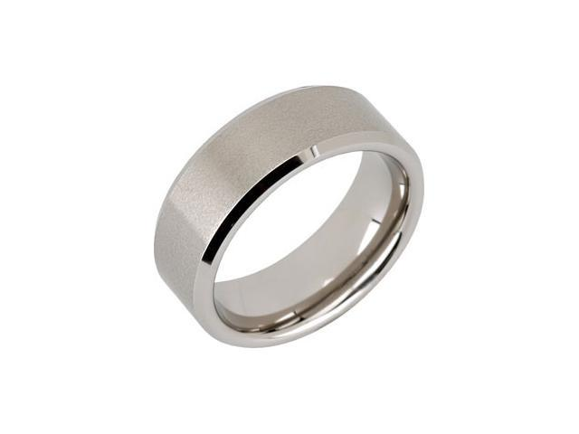 8.3MM Dura Tungsten Beveled Band With Satin Center Size 10.5