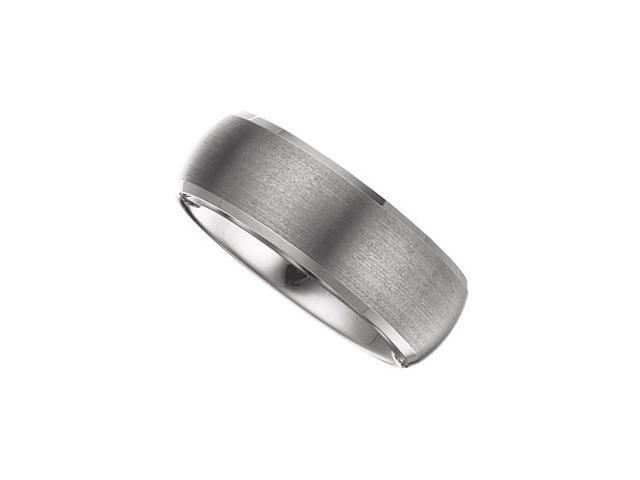 8.3MM Dura Tungsten Beveled Band With Satin Center Size 10