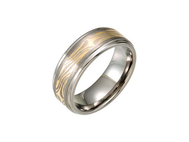 8.3MM Dura Tungsten Ridged Band With Faux Mokume Gane Inlay Size 10.5