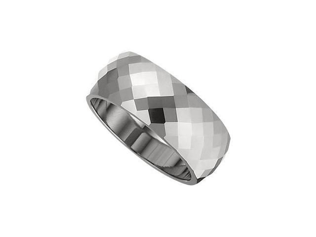 8.3MM Dura Tungsten Diamond Cut Faceted Band Size 7