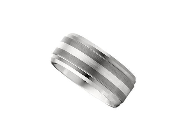 10MM Dura Tungsten Ridged Beveled Satin Band With Sterling Silver Inlay Size 8.5