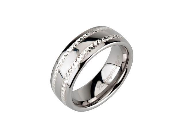 8.3MM Dura Tungsten Swiss Cut Sterling Silver Inlay Satin Band Size 7.5