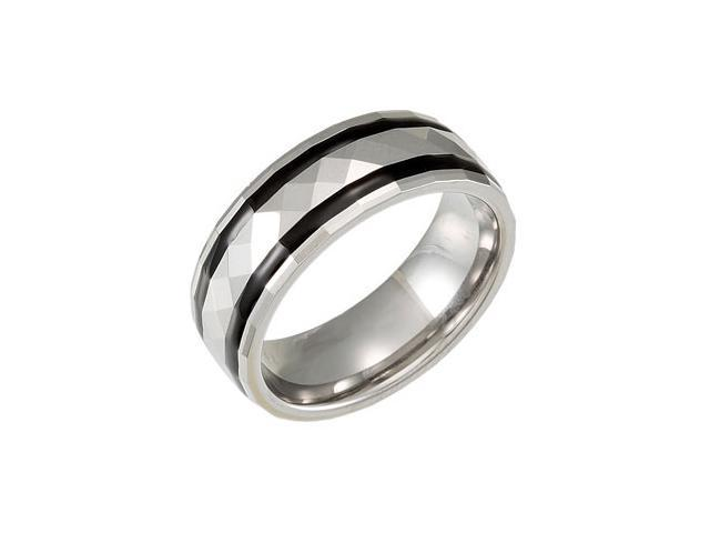 8.3MM Dura Tungsten Faceted Dome Band With Black Resin Inlays  Size 10.5