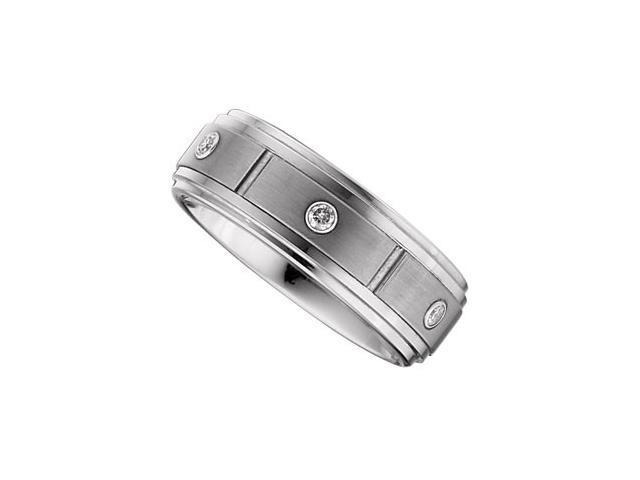 8.3MM Dura Tungsten Diamond Bezel Ridged Satin Band Size 9
