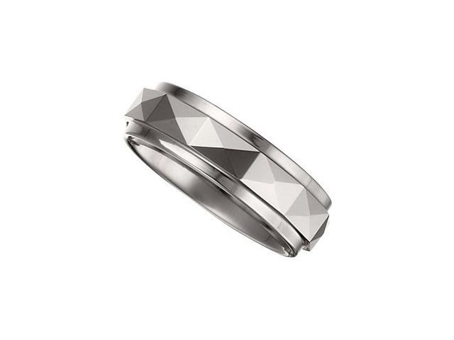 7.3MM Dura Tungsten Faceted Band With Ridge Size 6