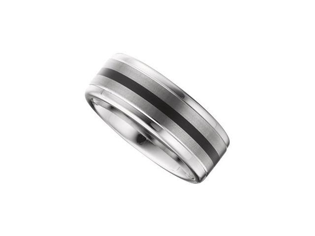 8.3MM Dura Tungsten Ridged Band With Black Enamel And Satin Center Size 11.5
