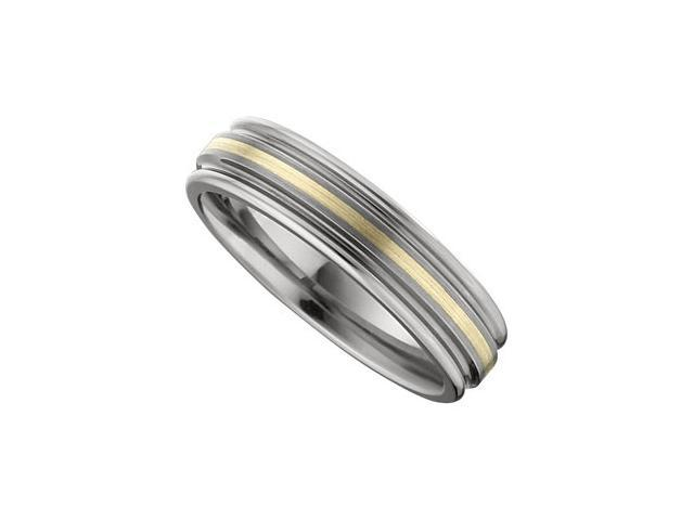 6.3MM Dura Tungsten Ridged Band With 14Kt Yellow Inlay Size 9.5