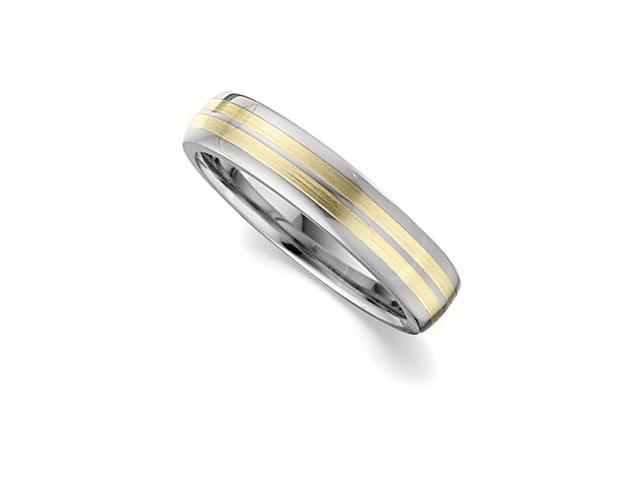 4.3MM Dura Tungsten Domed Band With 14Kt Yellow Inlays Size 7.5