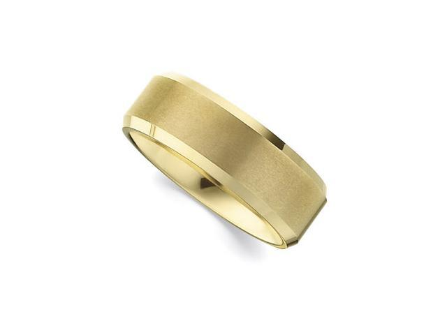8.3MM Dura Tungsten Gold IMMersion Plated Beveled Satin Band Size 6.5