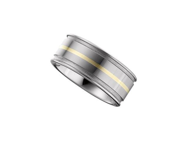 10MM Dura Tungsten Flat Band With 14Kt Yellow Inlay Size 10.5