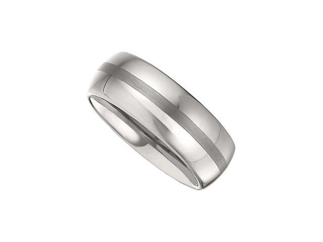 8.3MM Dura Tungsten Domed Band With Satin Center Size 7