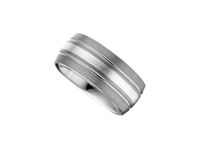 10MM Dura Tungsten Slight Domed Satin Band With Sterling Silver Inlay Size 10