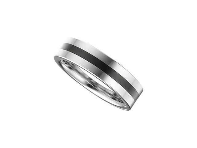 6.3MM Dura Tungsten Flat Band With Black Enamel Inlay Size 10.5