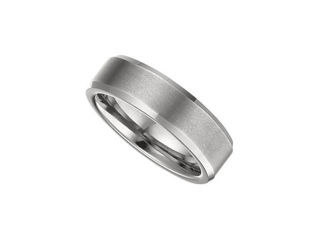 6.3MM Dura Tungsten Satin & Polished Beveled Band Size 8.5