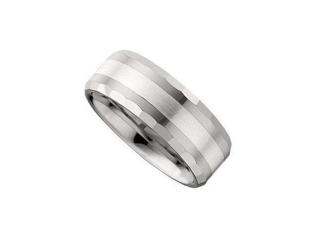 8.3MM Dura Tungsten Flat Beveled Band With Sterling Silver Inlay Size 10.5