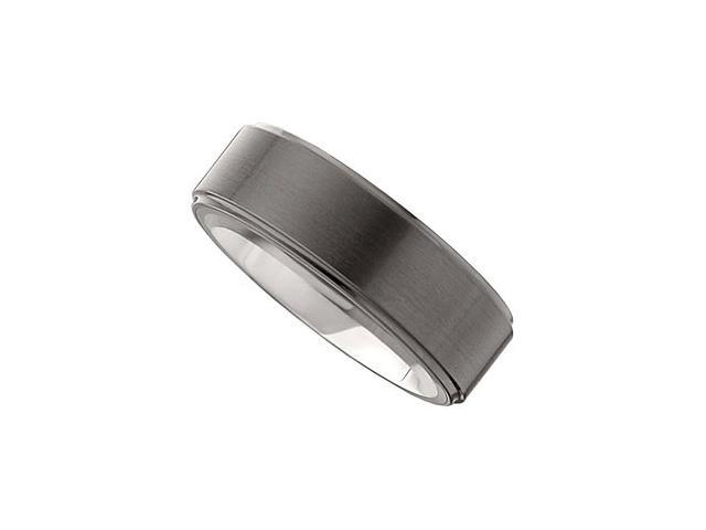 Dura Tungsten & Ceramic Couture Ridged Band Size 7.5