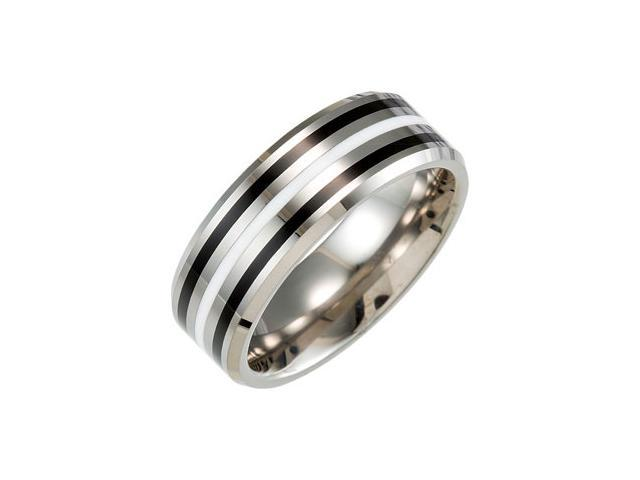 8.3MM Dura Tungsten Beveled Band With Black & White Resin Size 10.5