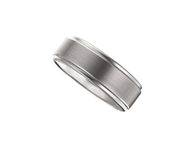 8.3MM Dura Tungsten Ridged Band With Satin Center Size 8.5