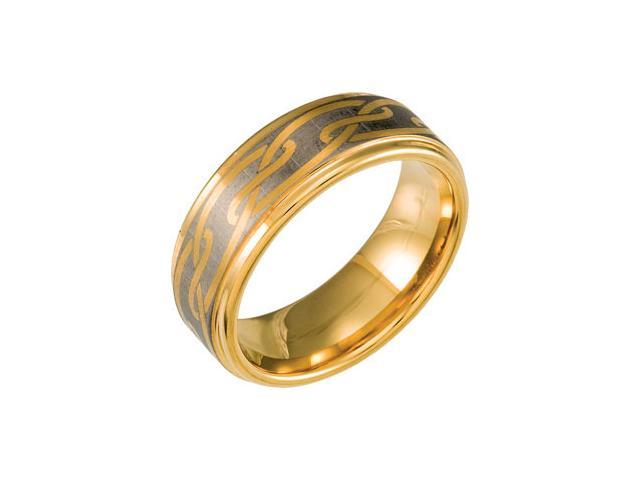 Dura Tungsten Gold  Plated Ridged Band With Faux Mokume Gane Inlay Size 8.5