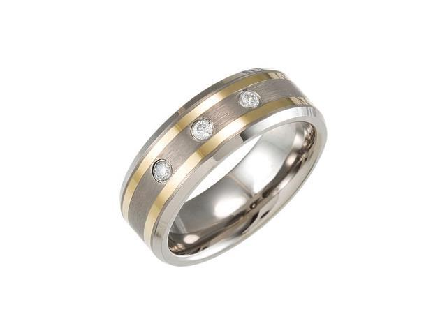 Dura Tungsten Diamond Beveled Band With Gold IMMersion Plated Stripes Size 10
