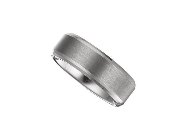 8.3MM Dura Tungsten Beveled Band With Satin Center Size 7.5