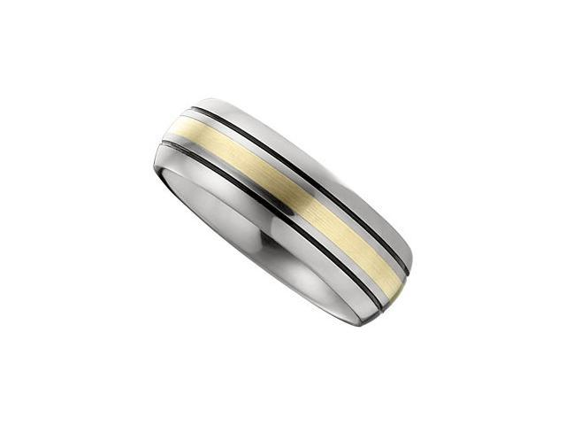 Dura Tungsten Slight Domed  Black Antiqued Band With 14Kt Yellow Inlay Size 8.5