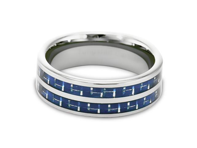 Tungsten Carbide Ring with Blue Carbon Fiber Inlays 8MM size 10.5