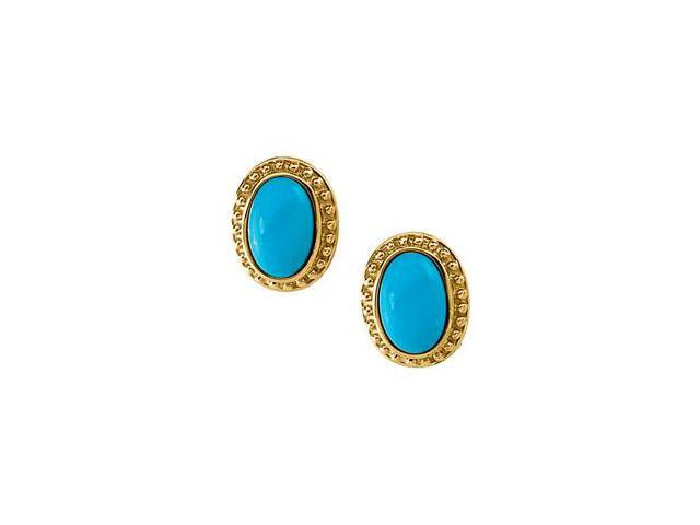 14K Yellow Gold Genuine Cab Turquoise Earring