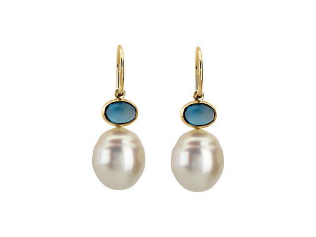 14K White Gold South Sea Cultured Pearl London Blue Topaz Earrings