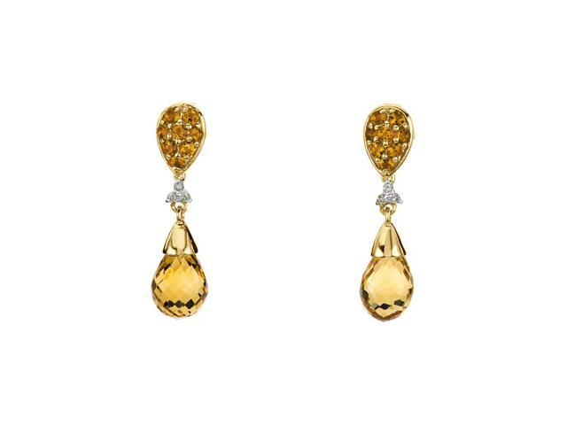 14K Yellow Gold Genuine Checkerboard Citrine And Diamond Earrings