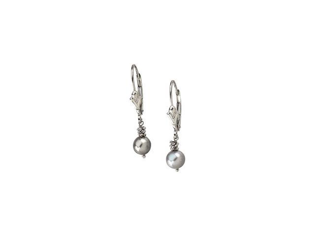 14K White Gold Lever Back Earring With Grey Pearl