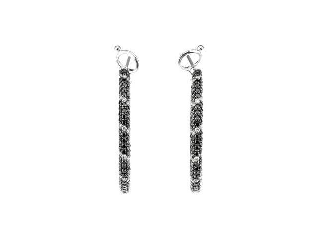 14Kw W/Black Rhodium Black And White Gold Diamond Earrings