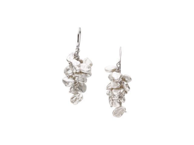 Sterling Silver Freshwater Keshi White Gold Cultured Pearl Earrings