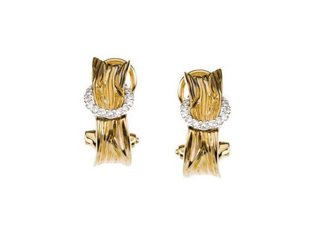 14K Yellow Gold /White Gold Diamond Earrings