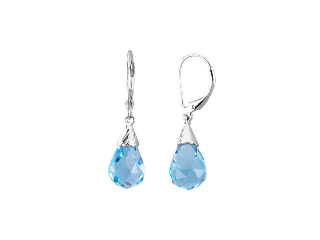 14K White Gold Genuine Swiss Blue Topaz Briolette Earrings