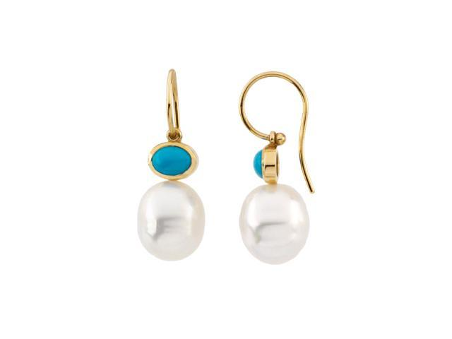 14K White Gold South Sea Cultured Pearl & Genuine Turquoise Earring