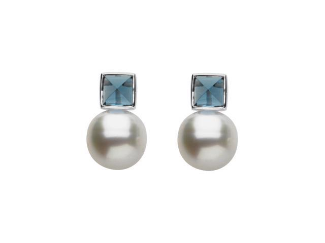 14K Yellow Gold South Sea Cultured Pearl And Genuine London Blue Topaz Earring
