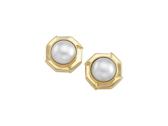 14K Yellow Gold Mabe Cultured Pearl Earring