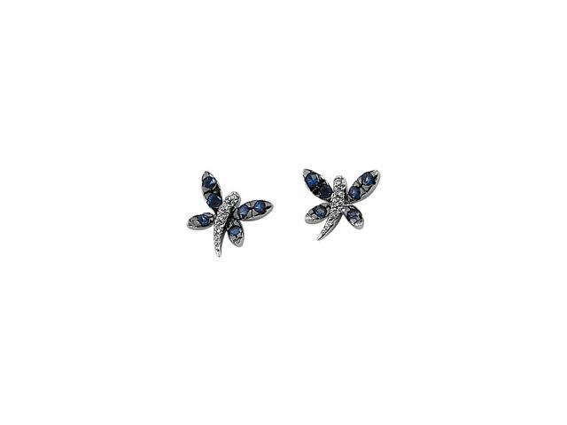 14Kw/Black Rhodium Plated Genuine Blue Sapphire And Diamond Earring
