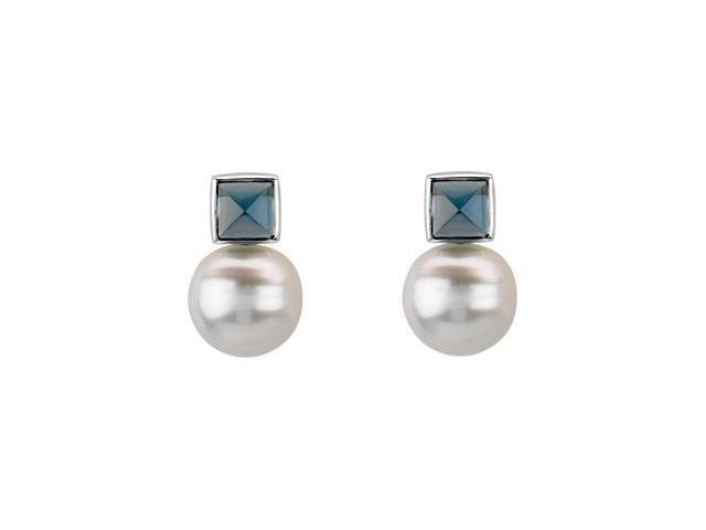 14K White Gold South Sea Cultured Pearl And Genuine London Blue Topaz Earring