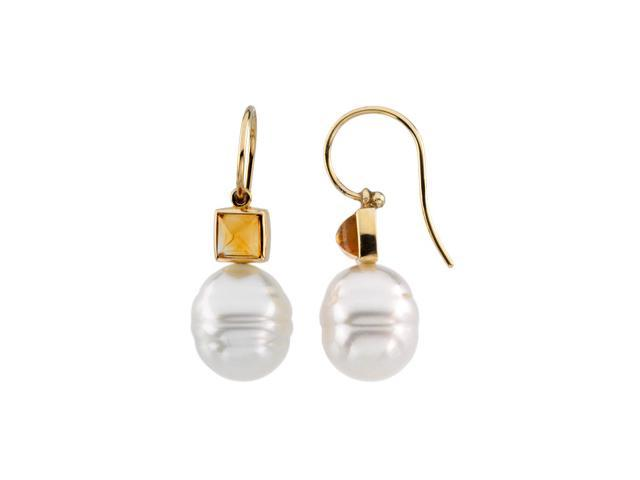 14K Yellow Gold South Sea Cultured Pearl & Genuine Citrine Earring