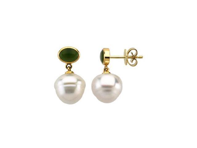 14K Yellow Gold South Sea Cultured Pearl & Genuine Jade Earring