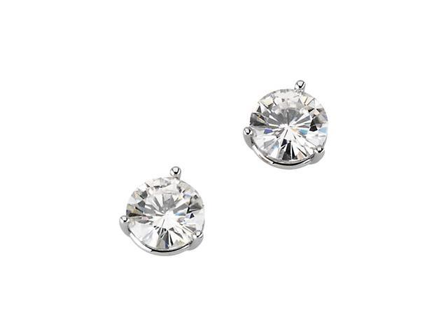 14K Yellow Gold Created Moissanite Three Prong Round Earring