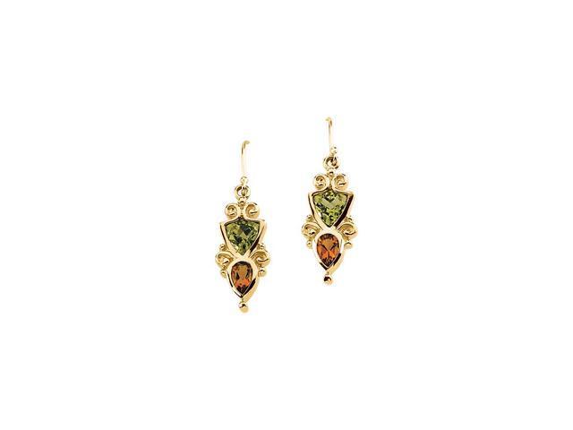 14K Yellow Gold Genuine Peridot And Citrine Earring
