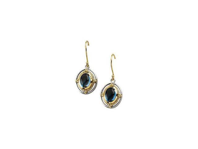 14K Yellow Gold & Sterling Silver Cab Genuine London Blue Topaz Earring